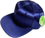 Crown Hat Original - Wholesale Faux Smooth Silk Blank Solid Snapback Caps - Navy Blue