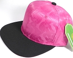 Wholesale Faux Smooth Silk Plain Snapback - Stuffed Bear - Hot Pink - Black Brim
