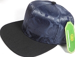 Wholesale Faux Smooth Silk Plain Snapback - Stuffed Bear - Navy Blue - Black Brim