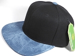 Wholesale Suede Blank Snapback Caps - Teal Blue - Black Crown