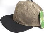 Wholesale Suede Blank Snapback Caps - Beaver Brown - Black Brim