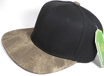Wholesale Suede Blank Snapback Caps - Beaver Brown - Black Crown