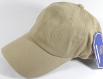 Washed 100% Cotton Plain Baseball Cap - Gold Metal Buckle - Tan/Khaki
