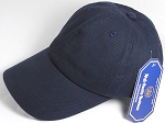 Washed 100% Cotton Plain Baseball Cap - Gold Metal Buckle - Navy Blue