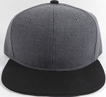 Wholesale Blank Snapback Cap - Denim Charcoal Grey - Black Brim