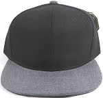 Wholesale Blank Snapback Cap - Denim Charcoal Grey - Black Crown