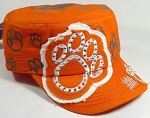 Wholesale Rhinestone Cadet Hat - Paw - Solid Orange