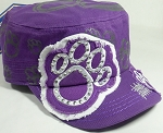 Wholesale Rhinestone Cadet Hat - Paw - Solid Purple
