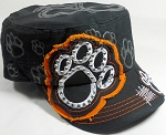Wholesale Rhinestone Cadet Hat - Paw - Black (Orange Trim)