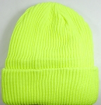 Wholesale Winter Knit Long Cuff Beanie Hats - Solid Neon Yellow