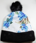 Wholesales Fashion Fur Pom Beanie Winter Hats - Hawaiian Hibiscus (Blue Floral)