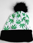 Wholesales Fashion Fur Pom Beanie Winter Hats - Cannabis - White
