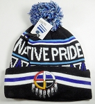 Native Pride Wholesale Pom Pom Long Cuff Beanie - Medicine Wheel - Black
