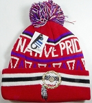 Native Pride Wholesale Pom Pom Long Cuff Beanie - Dream Catcher - Red