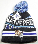 Native Pride Wholesale Pom Pom Long Cuff Beanie - Coyote - Black