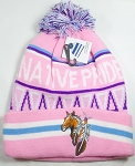 Native Pride Wholesale Pom Pom Long Cuff Beanie - Horse - Pink