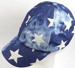 Washed 100% Cotton Plain Baseball Cap - Slider Buckle - Star Denim