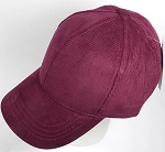 Corduroy 100% Cotton Plain Baseball Cap Wholesale - Slider Buckle - Burgundy