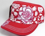 Wholesale Rhinestone Castro Cadet Bling Hats - Rose - Red