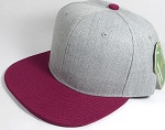 Wholesale Blank Snapback Cap - Denim Light Grey Indigo - Burgundy Brim