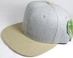 Wholesale Blank Snapback Cap - Denim Light Grey Indigo - Khaki Brim