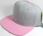 Wholesale Blank Snapback Cap - Denim Light Grey Indigo - Light Pink Brim