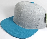 Wholesale Blank Snapback Cap - Denim Light Grey Indigo - Turquoise Brim