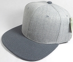 Wholesale Blank Snapback Cap - Denim Light Grey Indigo - Dark Gray Brim