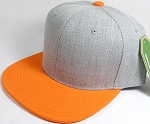 Wholesale Blank Snapback Cap - Denim Light Grey Indigo - Orange Brim