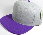 Wholesale Blank Snapback Cap - Denim Light Grey Indigo - Purple Brim