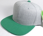 Wholesale Blank Snapback Cap - Denim Light Grey Indigo - Kelly Green Brim
