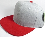 Wholesale Blank Snapback Cap - Denim Light Grey Indigo - Red Brim