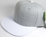 Wholesale Blank Snapback Cap - Denim Light Grey Indigo - White Brim
