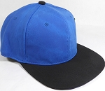 PU Suede Wholesale Blank Snapback Caps - Black Brim - Blue