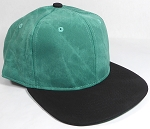 PU Suede Wholesale Blank Snapback Caps - Black Brim - Green