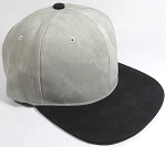 PU Suede Wholesale Blank Snapback Caps - Black Brim - Light Gray