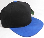 PU Suede Wholesale Blank Snapback Caps - Black Crown - Blue