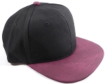 PU Suede Wholesale Blank Snapback Caps - Black Crown - Burgundy