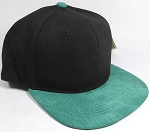 PU Suede Wholesale Blank Snapback Caps - Black Crown - Green