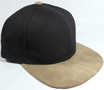 PU Suede Wholesale Blank Snapback Caps - Black Crown - Khaki