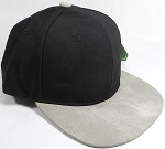 PU Suede Wholesale Blank Snapback Caps - Black Crown - Light Gray