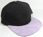 PU Suede Wholesale Blank Snapback Caps - Black Crown - Light Purple