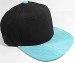 PU Suede Wholesale Blank Snapback Caps - Black Crown - Turquoise