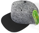 Wholesale Blank Snapback Hats - Charcoal Heather - Black Brim