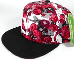 Wholesale Floral Rosebud Blank Snapback Caps - Red - Black Bim