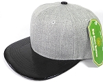 Wholesale Light Grey Denim Snapback Cap - Alligator Brim - Black