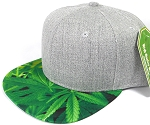 Wholesale Light Grey Denim Snapback Cap - Marijuana