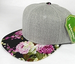 Wholesale Light Grey Denim Snapback Cap - Floral - Orchid