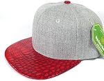 Wholesale Light Grey Denim Snapback Cap - Alligator Brim - Red