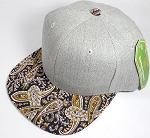 Wholesale Light Grey Denim Snapback Caps - Paisley - Black